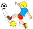 Drawing of boy kicking a football