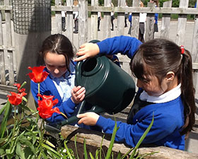 A photo of children watering plants