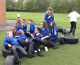 A photo of the school tyre park