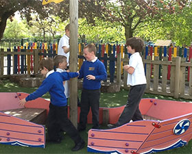 A photo of the school viking ship